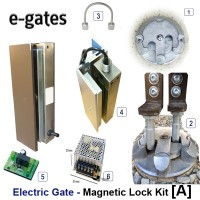 twin electric gate magnetic lock kit and floor lock.  with this kit the gate is locked top and bottom.
